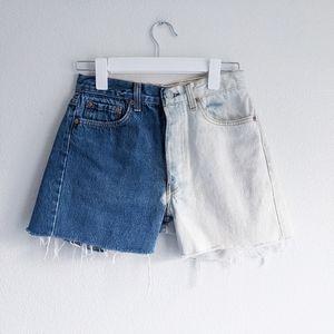 Levi's Color Blocked Jean Shorts Blue & White 29